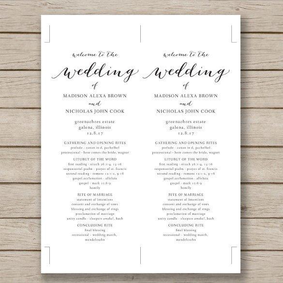 Free Downloadable Wedding Programs Templates Wedding Program Template 41 Free Word Pdf Psd