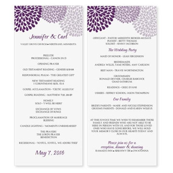 Free Downloadable Wedding Programs Templates Wedding Program Template Download Instantly by Karmakweddings