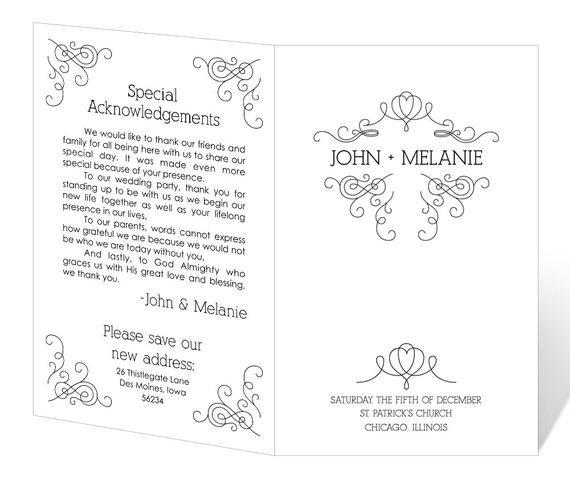 Free Downloadable Wedding Programs Templates Wedding Program Template Printable Instant Download