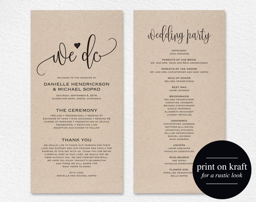 Free Downloadable Wedding Programs Templates Wedding Program Template Wedding Program Printable We Do