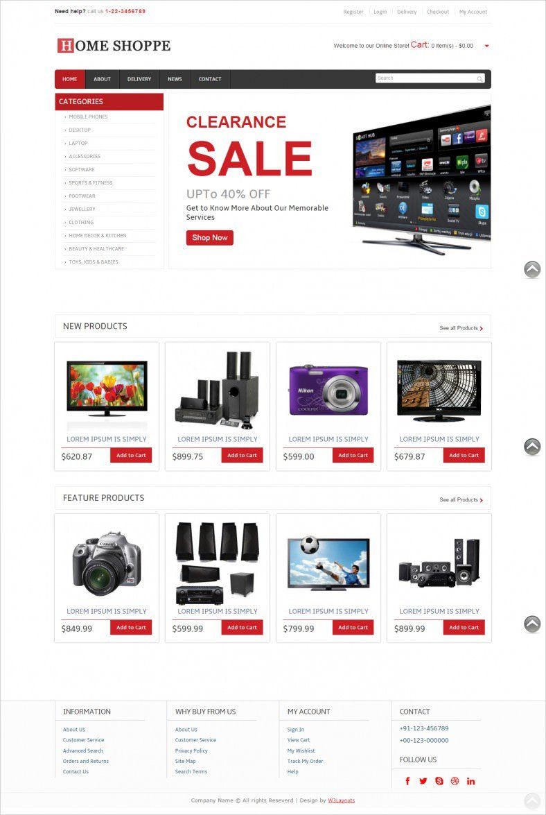 Free Ecommerce Websites Templates 9 Free E Merce Website Templates