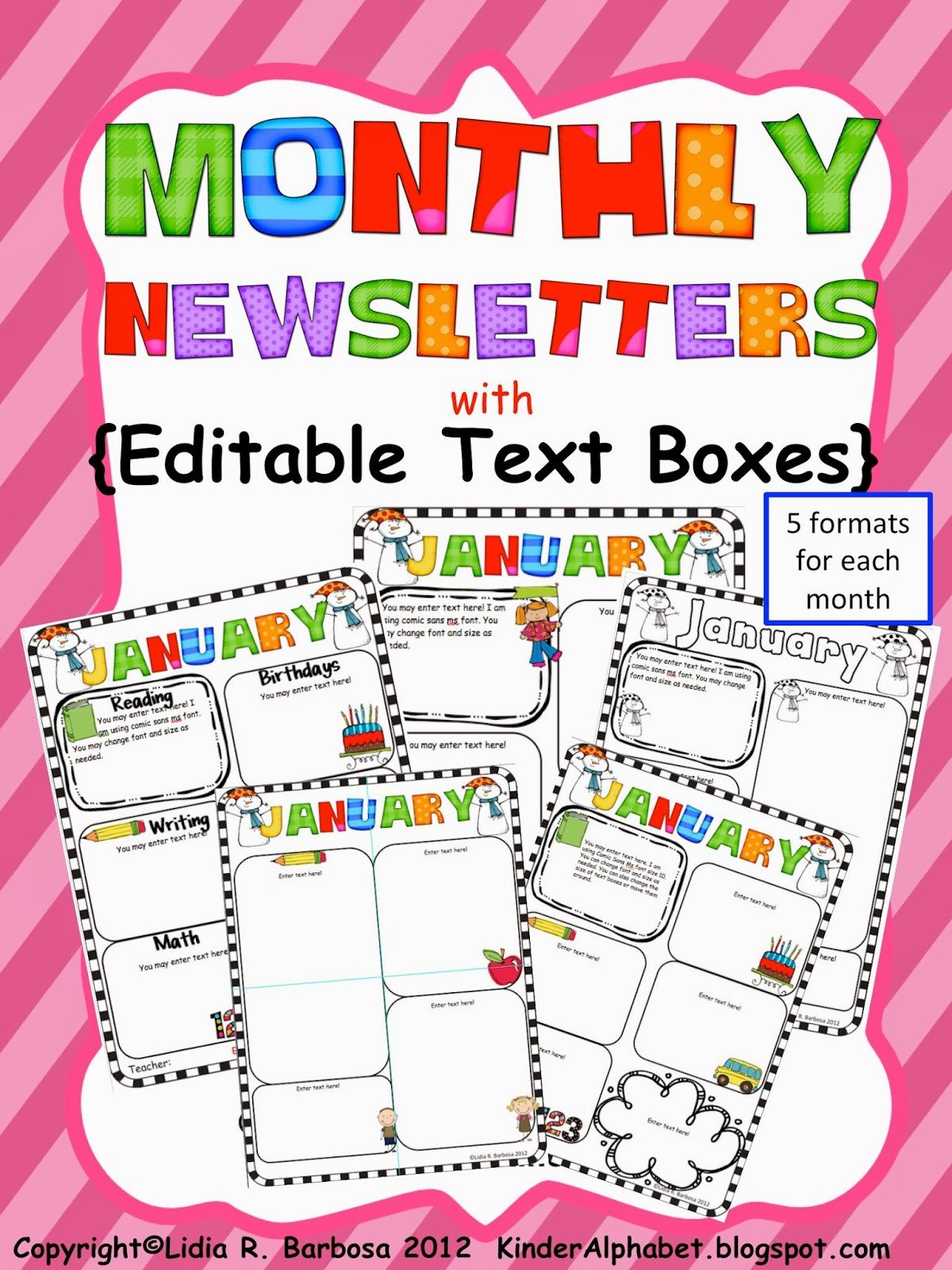 Free Editable Newsletter Templates Kinder Alphabet — Teacher Resources In English and Spanish