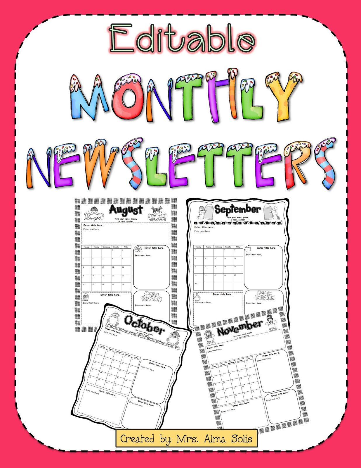 Free Editable Newsletter Templates Mrs solis S Teaching Treasures Monthly Newsletters