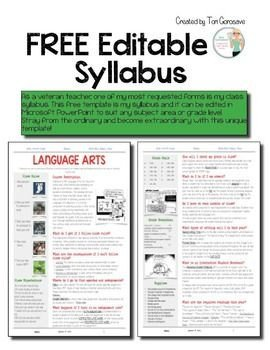 Free Editable Syllabus Template as A Veteran Teacher One Of My Most Requested forms is My