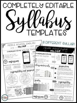 Free Editable Syllabus Template Syllabus and Meet the Teacher Editable Infographic