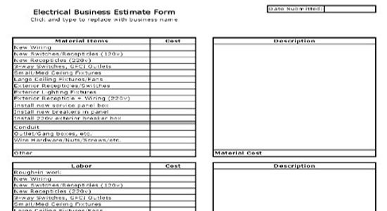 Free Electrical Bid Proposal Template Electrical Estimate Sheet Free Electrical Estimate