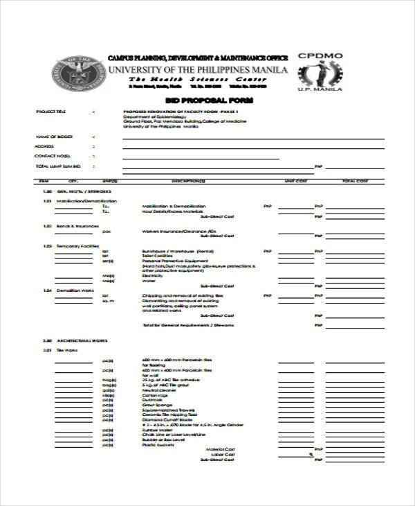 Free Electrical Bid Proposal Template Proposal form Templates