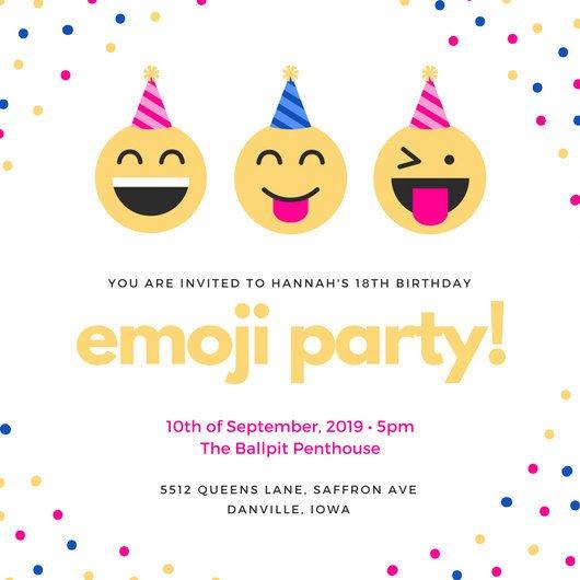 Free Emoji Invitation Template Colorful Emoji Confetti 18th Birthday Invitation