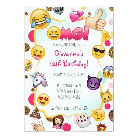 Free Emoji Invitation Template Emoji Birthday Invitation Emoji themed Invites