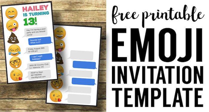 Free Emoji Invitation Template Emoji Birthday Invitations Free Printable Template Paper