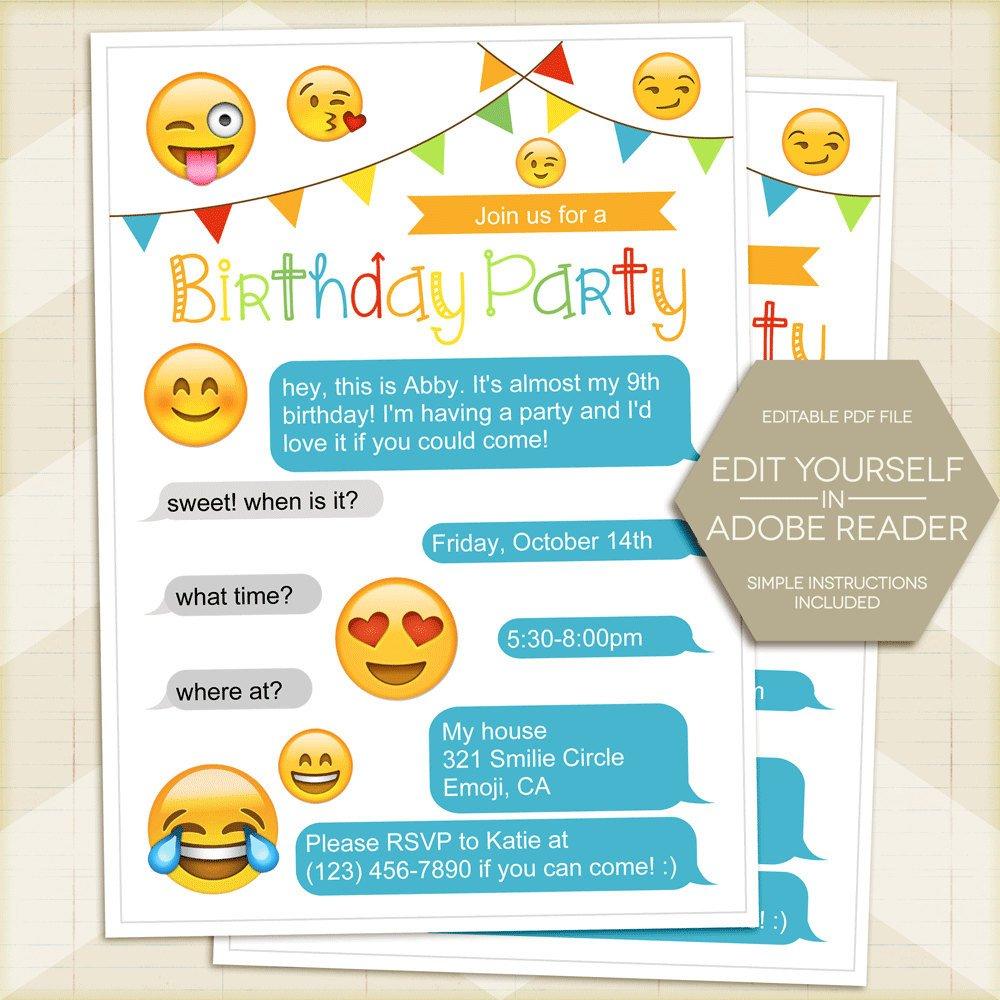 Free Emoji Invitation Template Emoji Party Invitation iPhone Invitation Emoji Birthday
