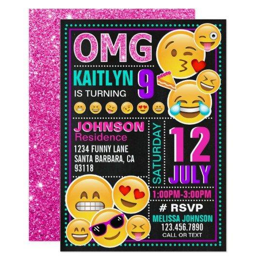Free Emoji Invitation Template Emoji Pink Glitter Birthday Invitation