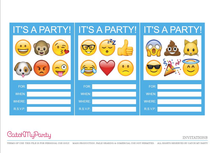 Free Emoji Invitation Template Free Emoji Party Printables