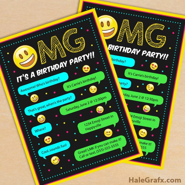 Free Emoji Invitation Template Free Printable Emoji Birthday Party Invitation