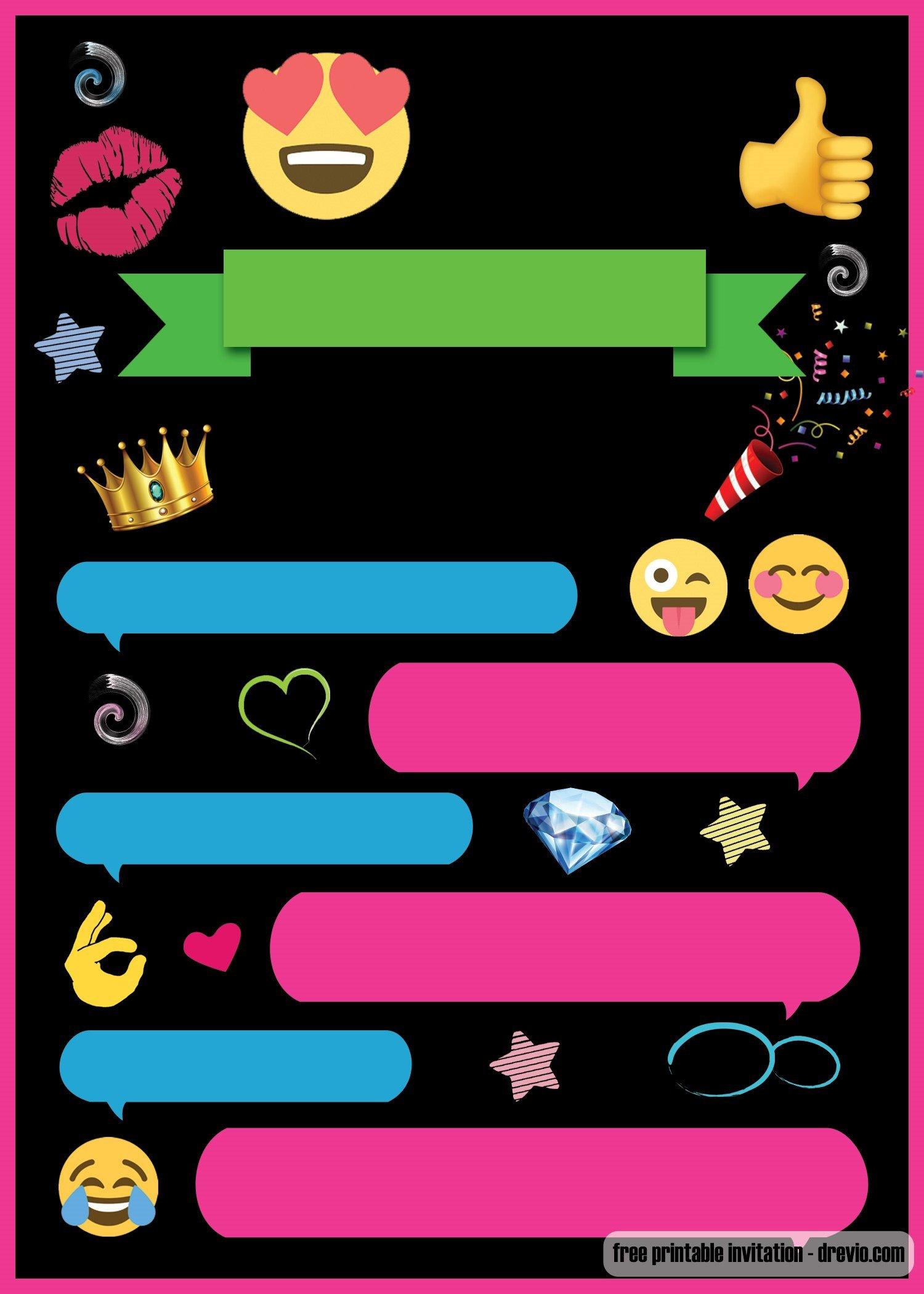 Free Emoji Invitation Template Free Printable Emoji Chat Invitation Template