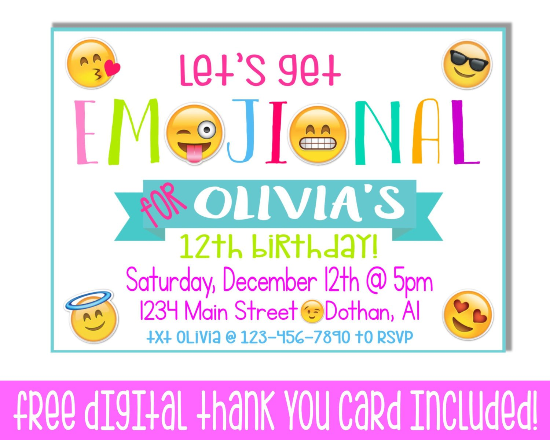 Free Emoji Invitation Template Tween Party Invitations