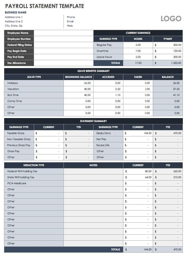 Free Employee Earnings Statement Template 15 Free Payroll Templates