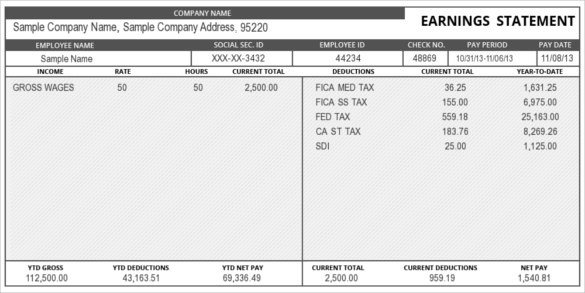 Free Employee Earnings Statement Template 24 Pay Stub Templates Samples Examples & formats