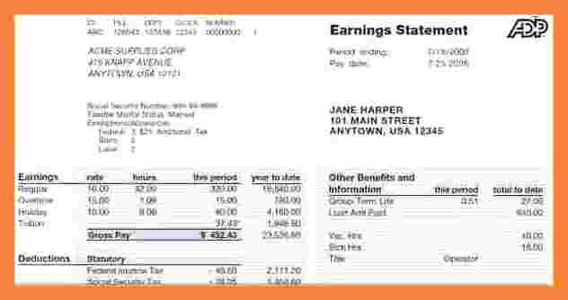 Free Employee Earnings Statement Template 8 Free Employee Earnings Statement Template