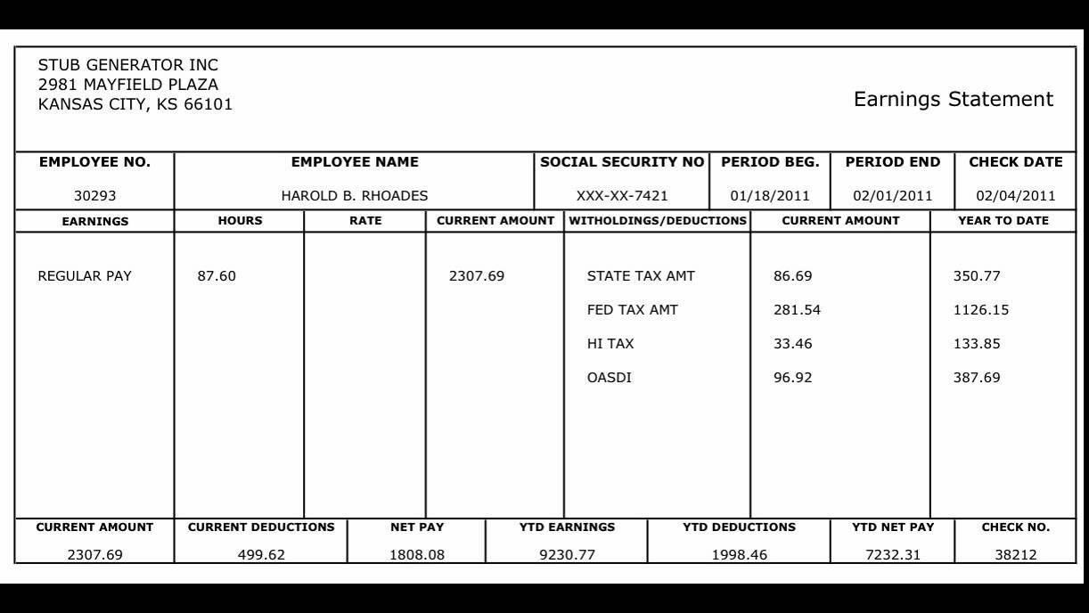 Free Employee Earnings Statement Template Auto Pay Stubs Generator