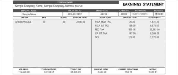 Free Employee Earnings Statement Template Earnings Statement Template