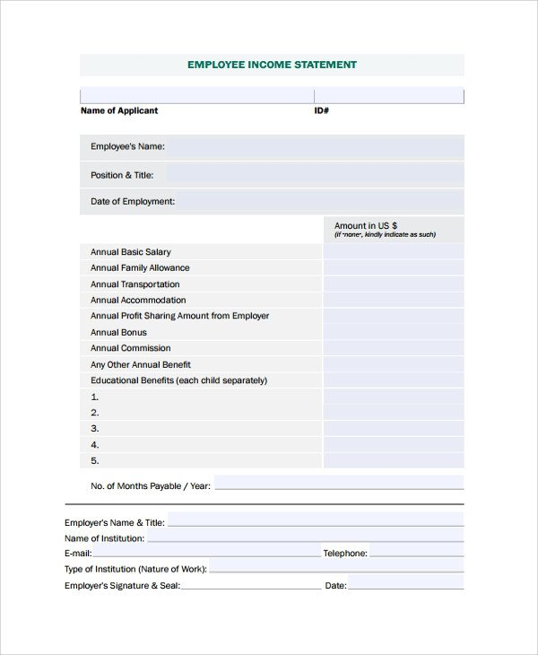 Free Employee Earnings Statement Template Sample In E Statement 23 Documents In Pdf Word Excel