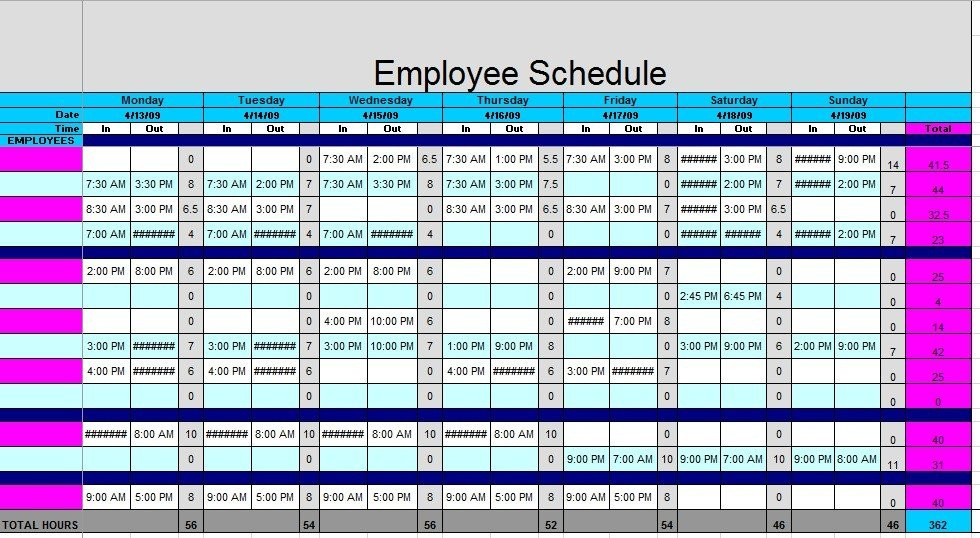 Free Employee Schedule Template 12 Free Sample Staff Schedule Templates Printable Samples
