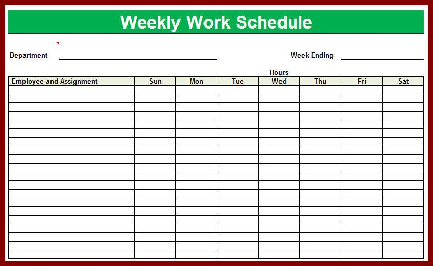 Free Employee Schedule Template Blank Employee Schedule