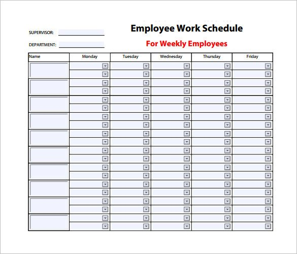 Free Employee Schedule Template Employee Work Schedule Template – 10 Free Word Excel
