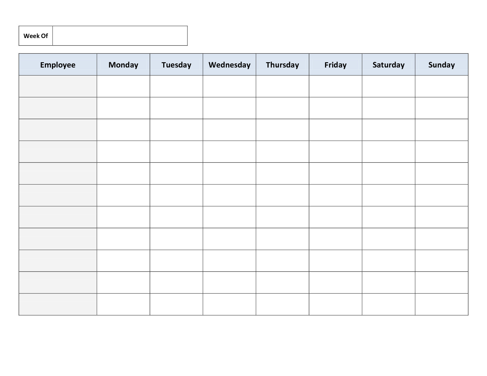 Free Employee Schedule Template Free Printable Work Schedules