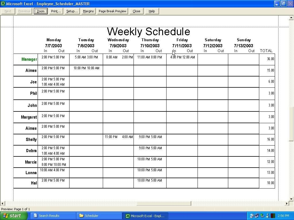 Free Employee Schedule Template Weekly Employee Schedule Template Excel
