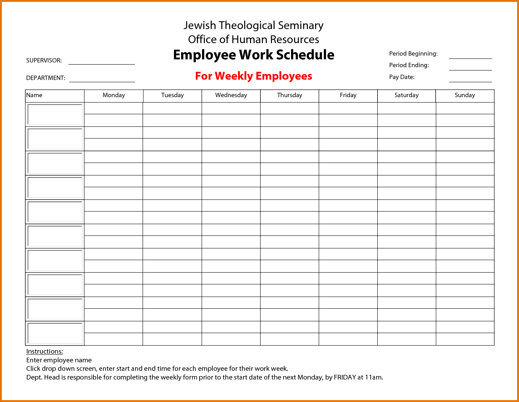Free Employee Schedule Template Weekly Employee Work Schedule Free Template Driverlayer