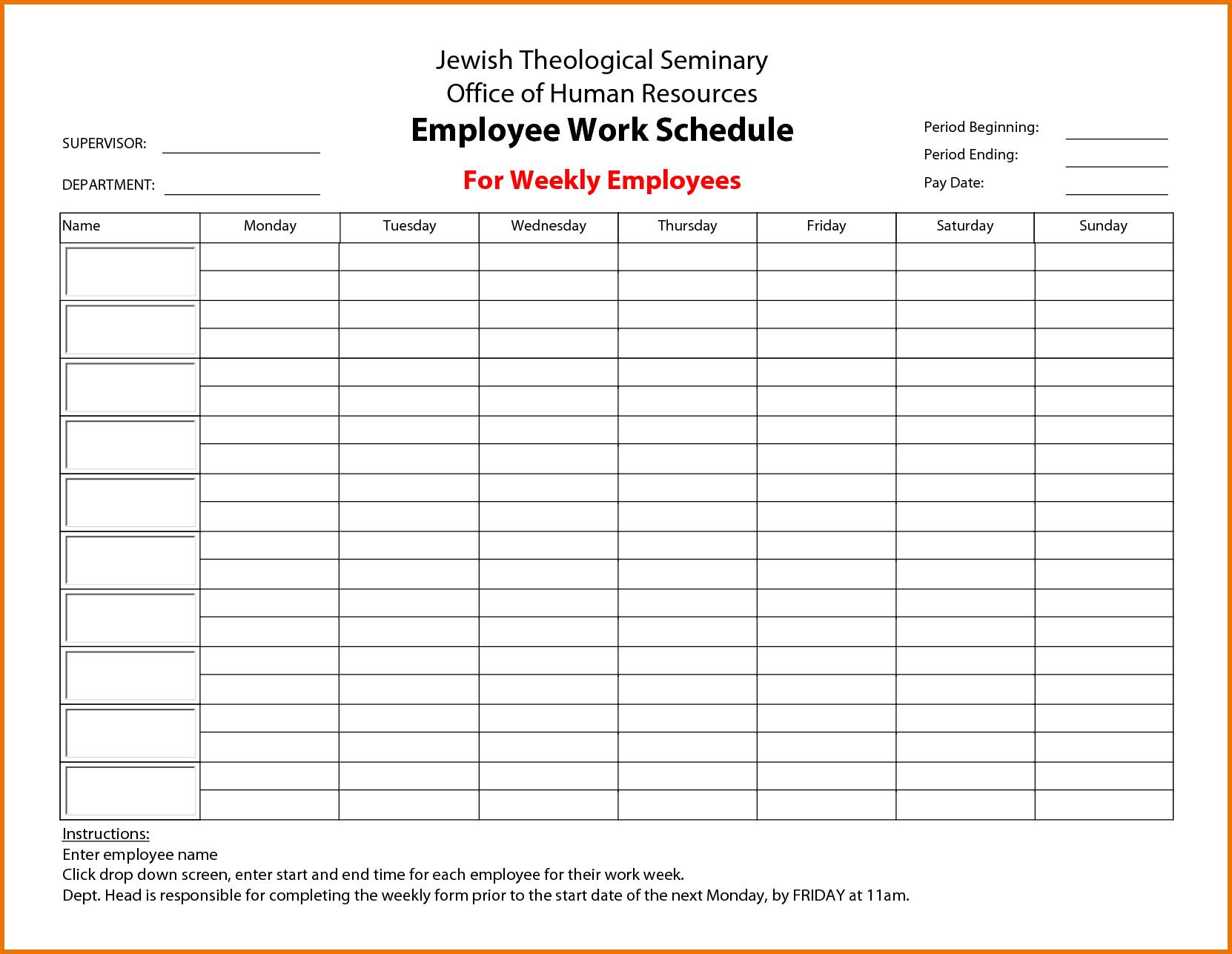 Free Employee Schedule Template Weekly Employee Work Schedule Free Template Driverlayer