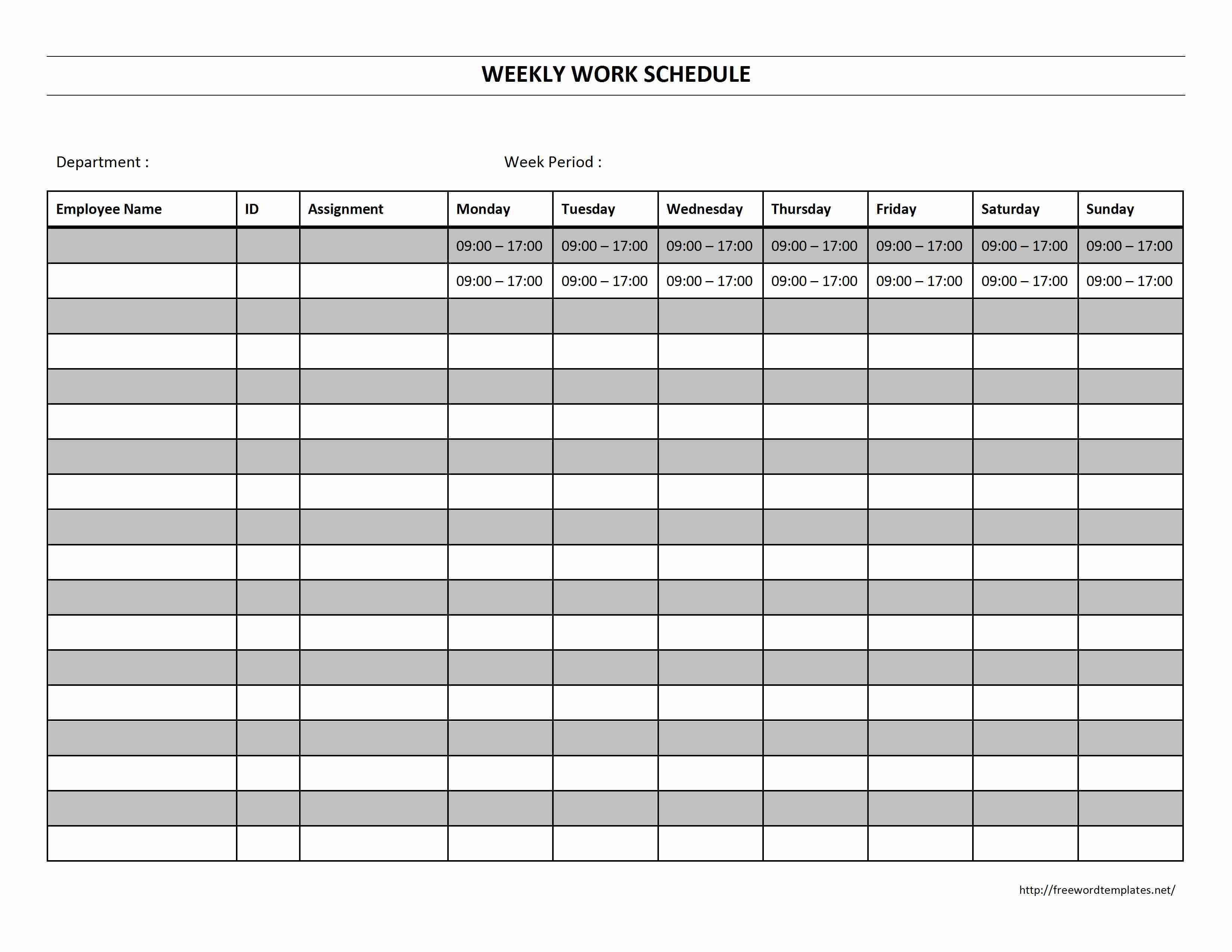 Free Employee Schedule Template Work Schedule Template