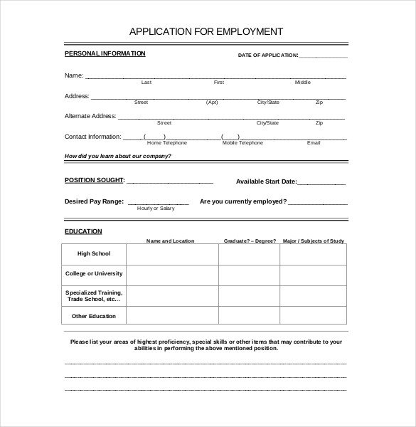 Free Employment Application Template Download 15 Employment Application Templates – Free Sample