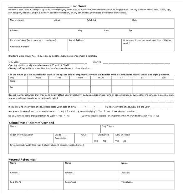 Free Employment Application Template Download 15 Job Application Templates – Free Sample Example