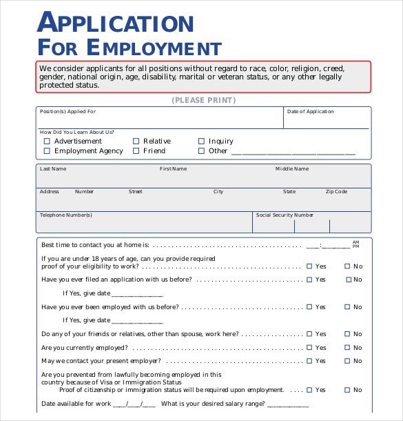 Free Employment Application Template Download 21 Employment Application Templates Pdf Doc