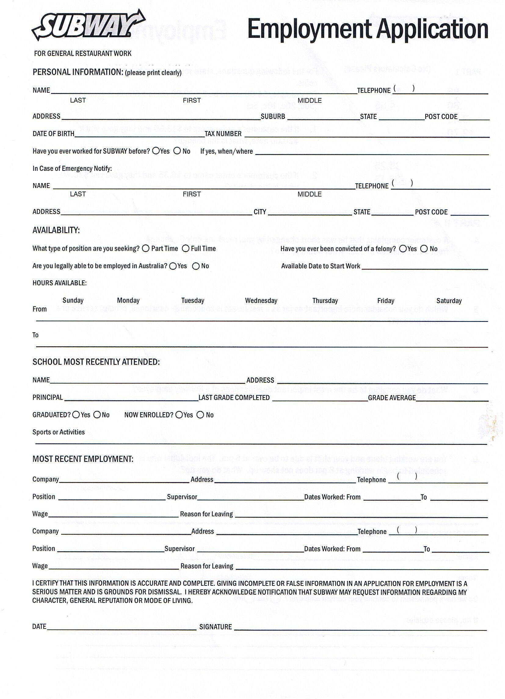 Free Employment Application Template Download Printable Job Application forms Online forms Download and