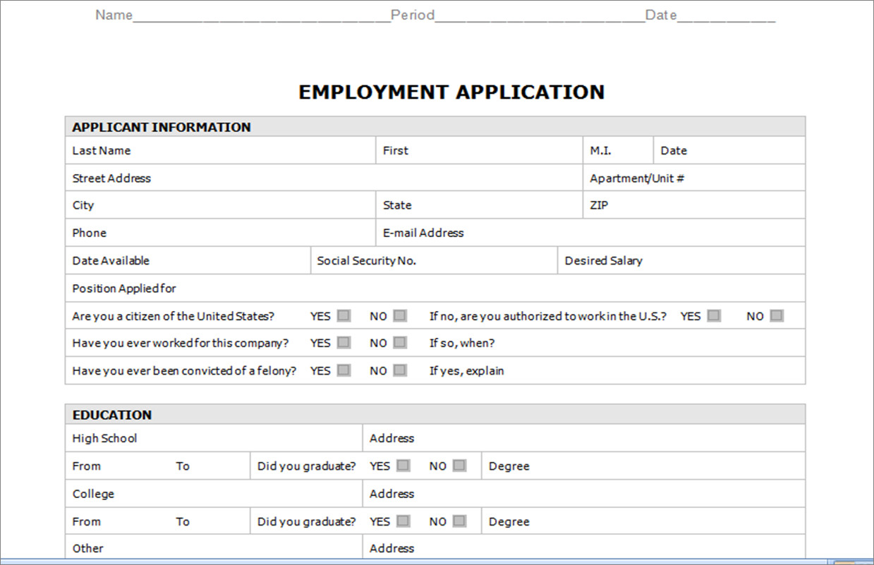 Free Employment Application Template Download Resource Groups Career Preparation Ii High School