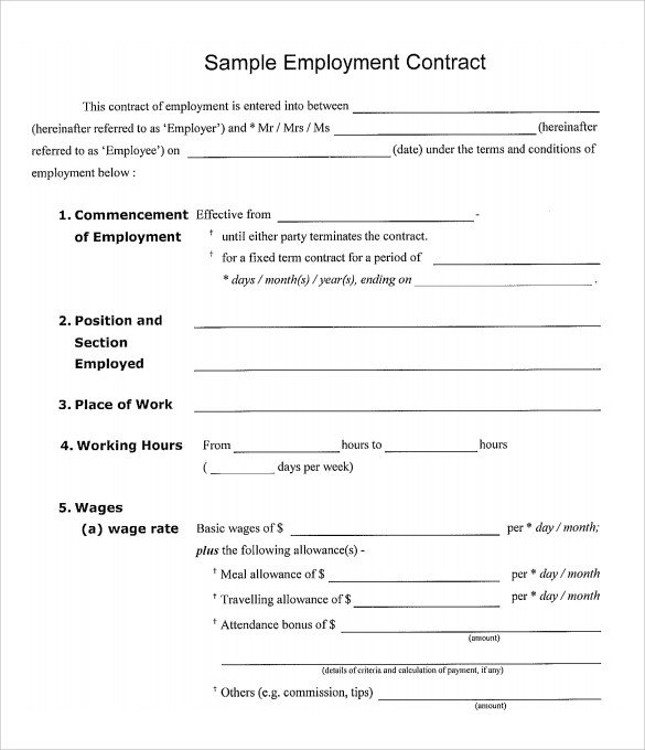 Free Employment Contract Template 15 Useful Sample Employment Contract Templates to Download