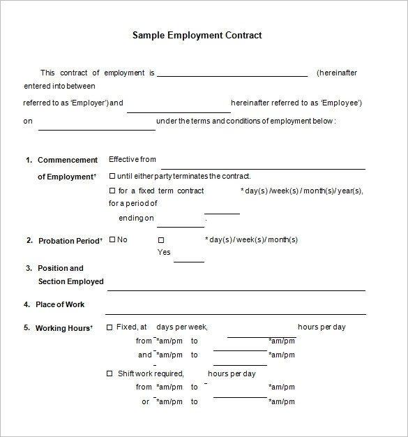 Free Employment Contract Template 18 Job Contract Templates Word Pages Docs