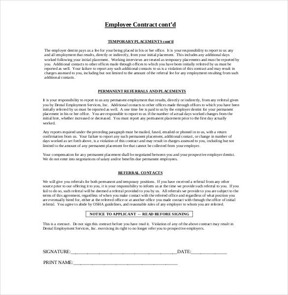 Free Employment Contract Template 32 Employment Agreement Templates – Free Word Pdf format