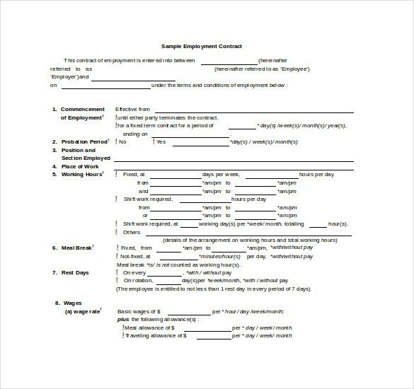 Free Employment Contract Template Contract Template – 24 Free Word Excel Pdf Documents