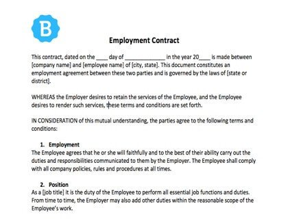 Free Employment Contract Template Employee Contract Template [free Download]