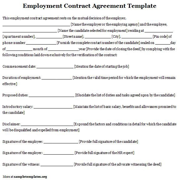 Free Employment Contract Template Free Printable Employment Contract Sample form Generic