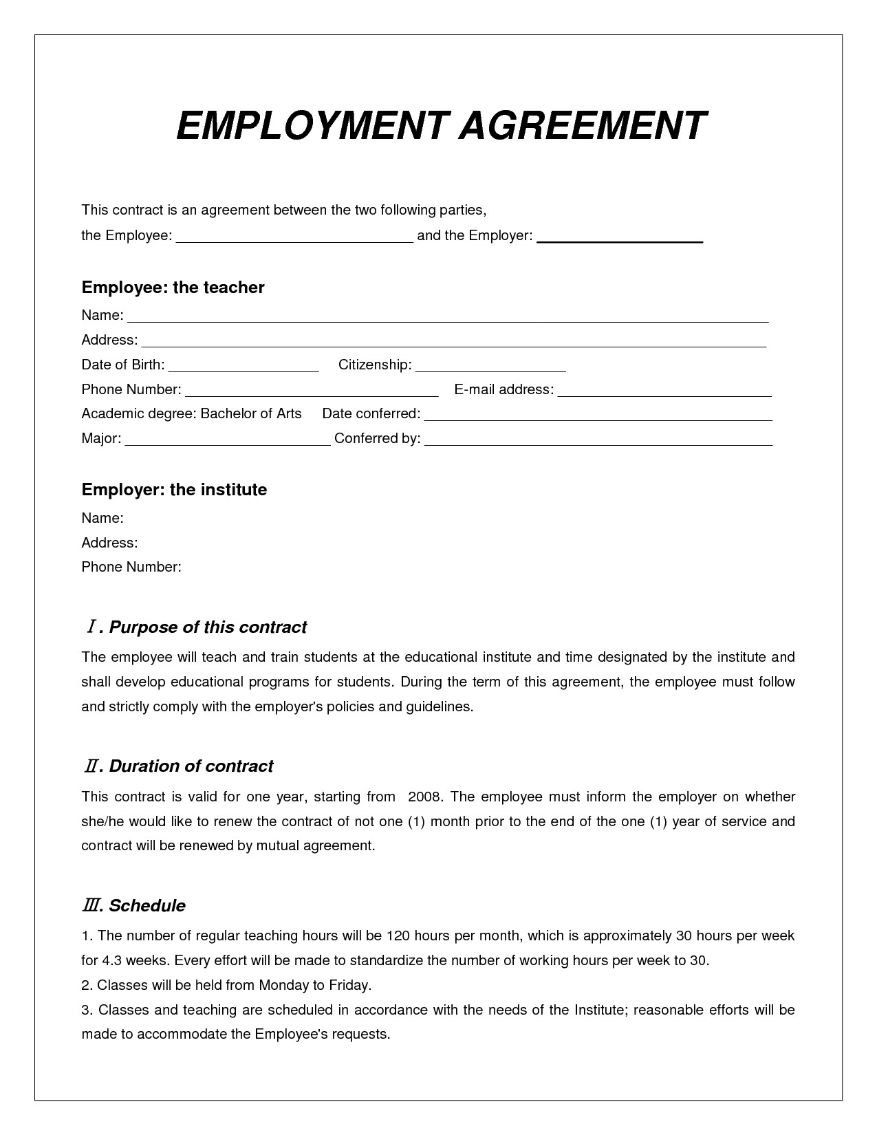 Free Employment Contract Template Labor Contract Template Invitation Templates