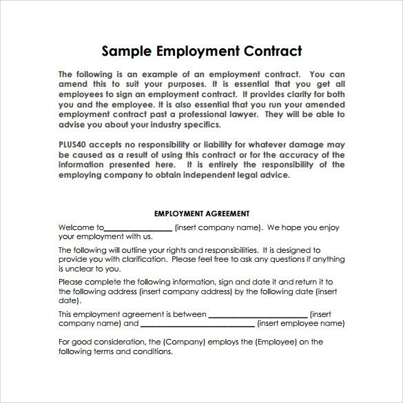 Free Employment Contract Template Sample Basic Contract Template 18 Free Sample Example