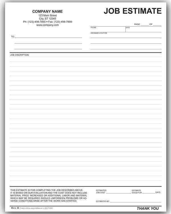 Free Estimate Template Word 10 Job Estimate Templates Excel Pdf formats