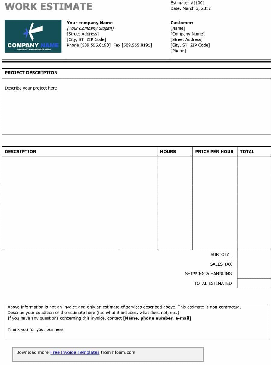 Free Estimate Template Word 44 Free Estimate Template forms [construction Repair