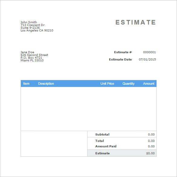 Free Estimate Template Word Blank Estimate Template – 23 Free Word Pdf Excel Google